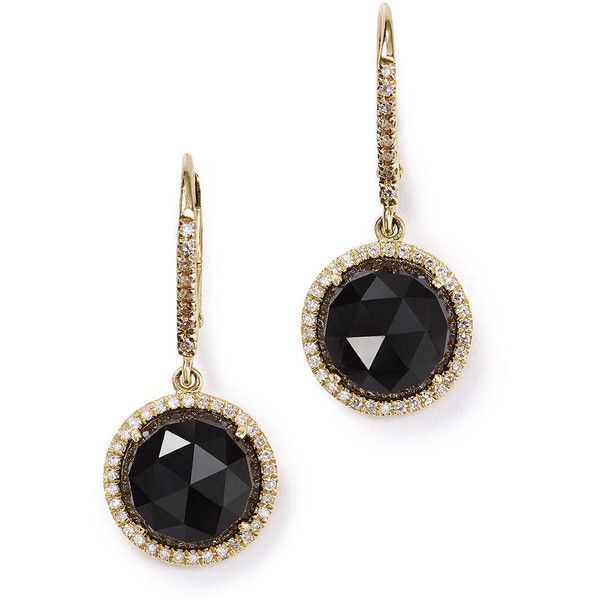 Liven Co. Black Onyx and Diamond Round Drops in 14k Yellow Gold found on Polyvore