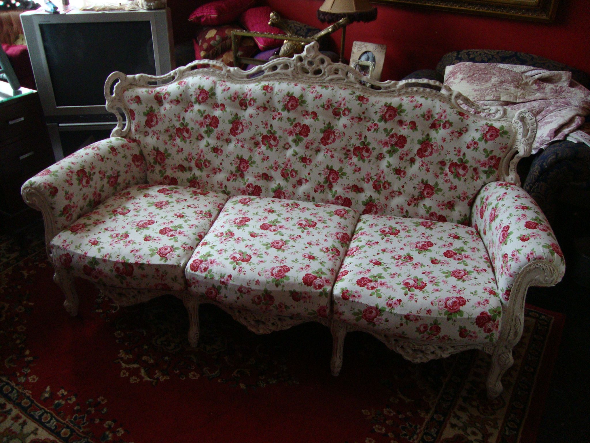 beautiful large rococo style sofa handpainted in dimity and rh pinterest ca