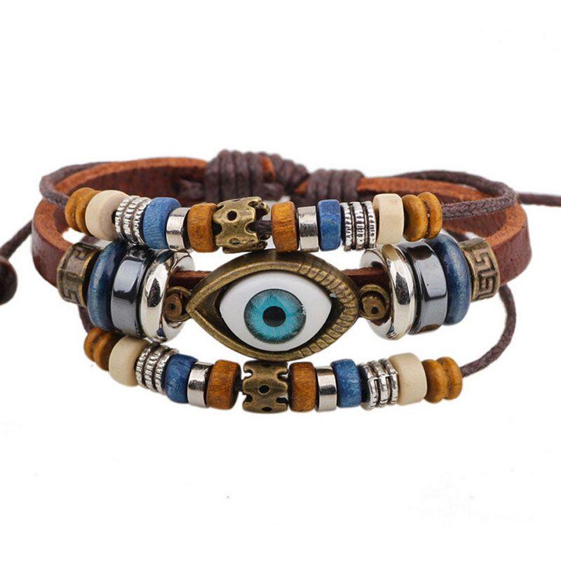 BA172 Wholesale Handmade 6 Color Turkish Evil Eye Leather Adjustable Bracelet Wristband Jewelry Bijouterie Unisex Girls Woman