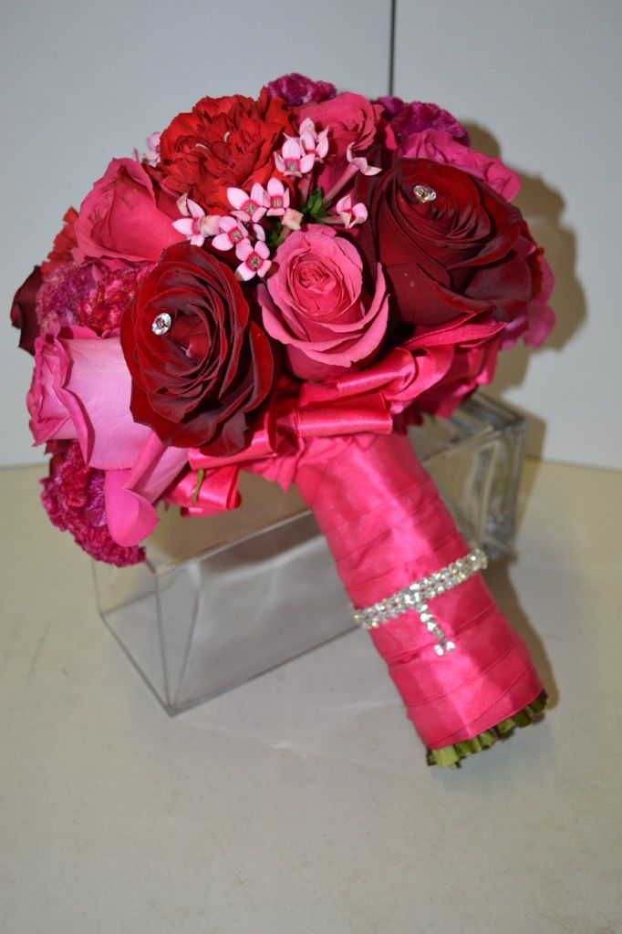 Pink and red Bridal Bouquet by Tustinflorist.com