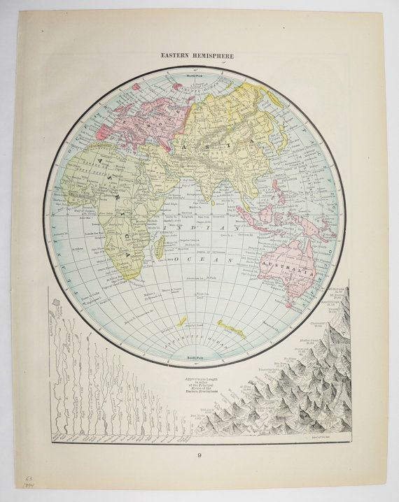 Original vintage map 1894 eastern hemisphere map old world art map original vintage map 1894 eastern hemisphere map old world art map to frame world globe wall map map gift for home dcor available from oldmapsandprints gumiabroncs Gallery