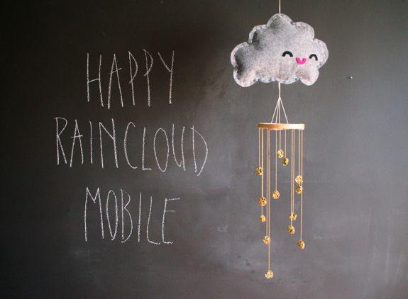DIY happy rain cloud mobile