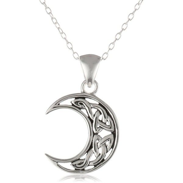 Sterling silver celtic knot crescent moon pendant necklace with rolo sterling silver celtic knot crescent moon pendant necklace with rolo 16 aloadofball Choice Image