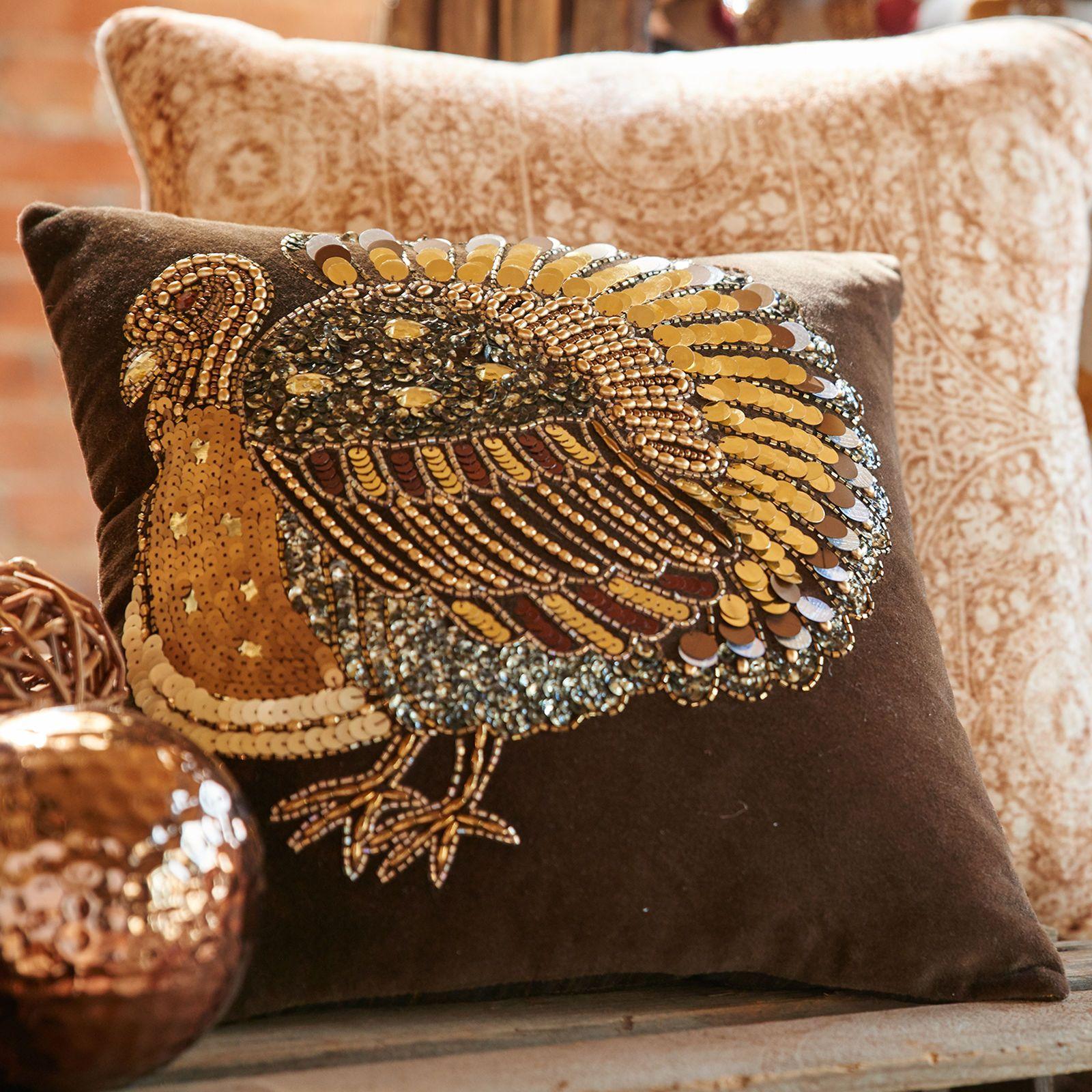 Gold Beaded Turkey Pillow | Autumn is Falling | Pinterest ...