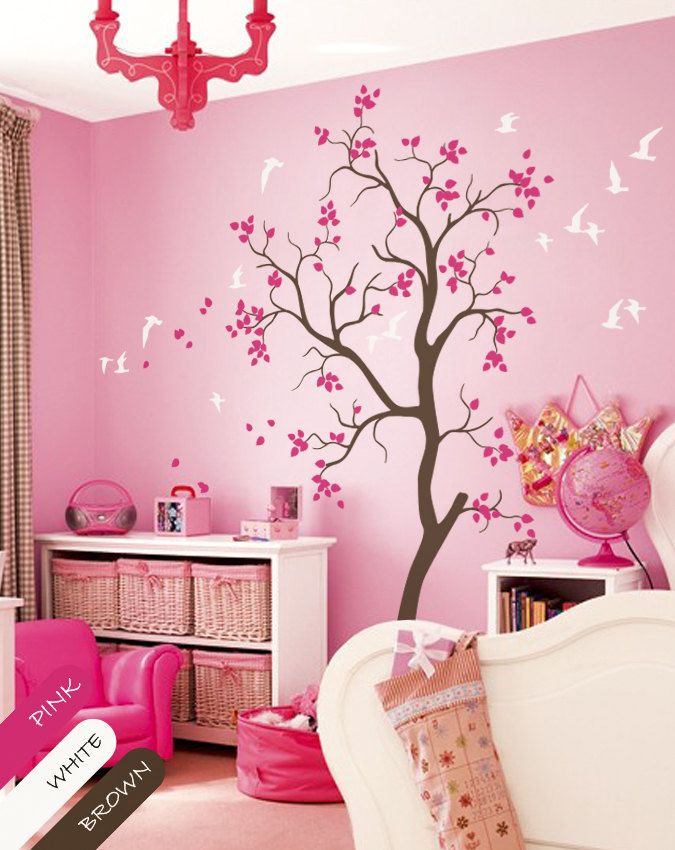 pink floral nursery vinyl | luxefinds marketplace | nursery wall