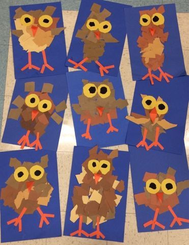Cute Fall Craft For Kids Torn Paper Owls Kindergarten