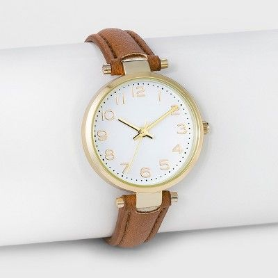 bf9c61f835a5 Women s Easy Read Strap Watch - A New Day™ Brown   Target