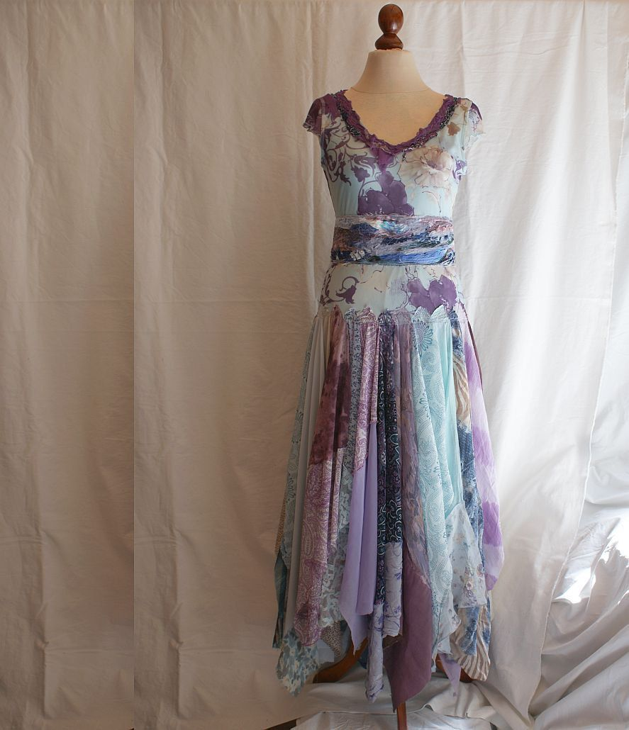 Romantic Tattered Dress Pale Blue Purple Upcycled Woman's