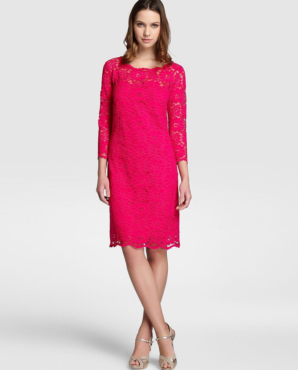 78ac37dfc4126 Vestido de mujer Fiesta El Corte Inglés de guipur en rosa