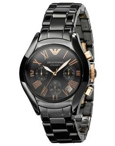 6940862ab5 watches+for+woman+in+black | Emporio-Armani-AR1411-Womens-mens-UNISEX-black- ceramic-rose-gold-Watch