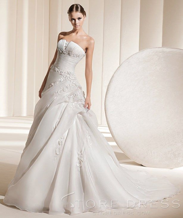 Funky Wedding Gowns: Funky A-line Strapless Chapel Ruffles Wedding Dress