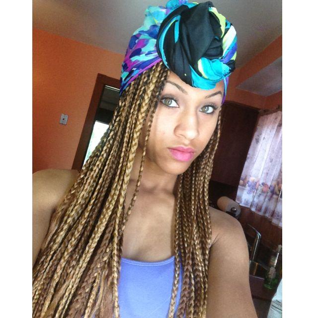 Blonde Box Braids With Turban Hairstyles Pinterest