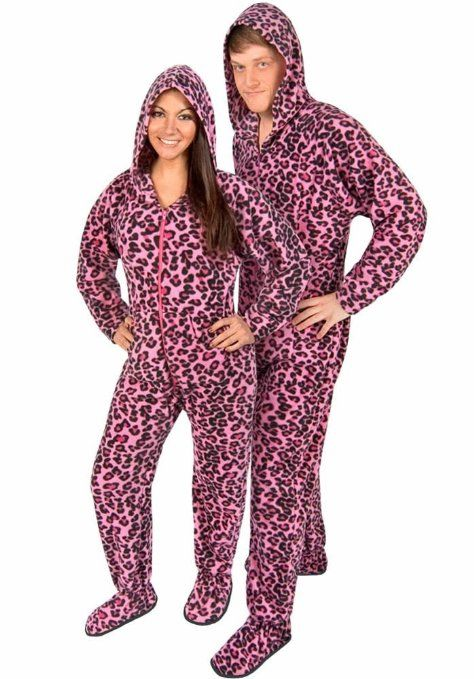 Couples #Pajamas: Pink Leopard Footed Pajamas | Matching Pajamas ...