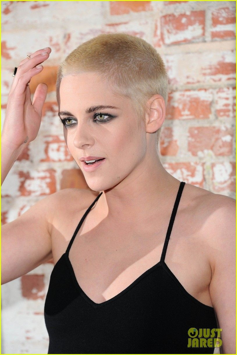 V cut haircut men kristen stewart shaves her head bleaches hair blonde  hairstyle