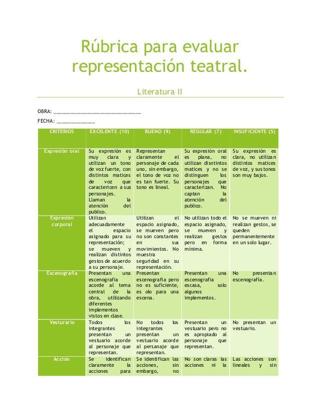 Rúbrica para evaluar representación teatral. Literatura II OBRA: ________________________________ FECHA: ______________ CR...