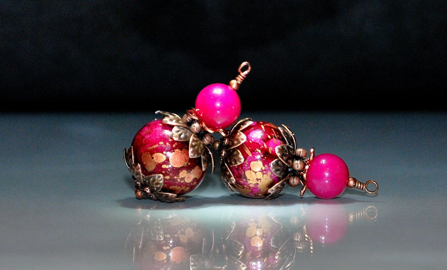 2 Magenta, Gold, Hot and Copper Possibilities - Handmade Bead Dangles 15mm Acrylic Rondelle Beads by goldcountrydangles on Etsy