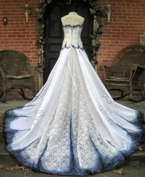 Gothic Wedding Gown Hand Painted and Beaded Offered here is an ...