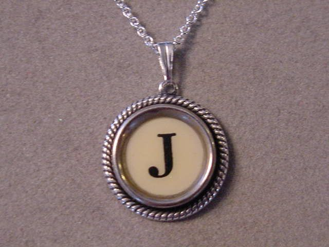 Typewriter key jewelry necklace CREAM LETTER J by magiccloset