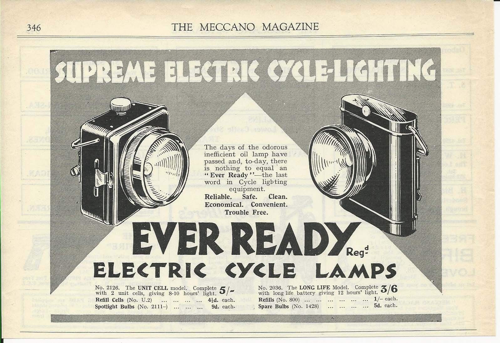 Ever Ready Electric Cycle Lamps Prices Shown 1929 Advertisement Electric Cycle Cycle Electricity