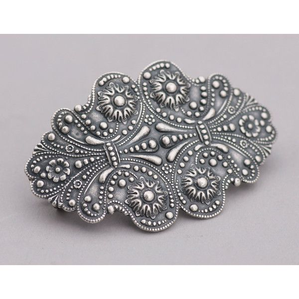 Art Nouveau Victorian Large Silver Hair Barrette ($24) ❤ liked on Polyvore featuring accessories, hair accessories, barrettes & clips, grey, silver hair accessories, silver hair clips, barrette hair clips, hair clip accessories and victorian hair accessories
