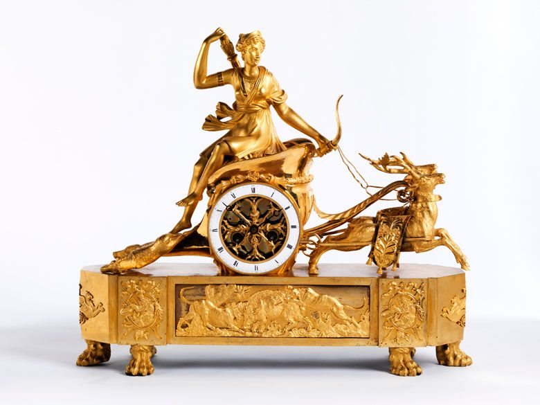 Kaminuhr Modern significant kaminuhr with diana on the chariot early 19th