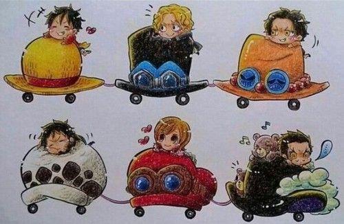 One Piece - Luffy, Sabo, Ace, Law, Koala and Mihawk   One piece