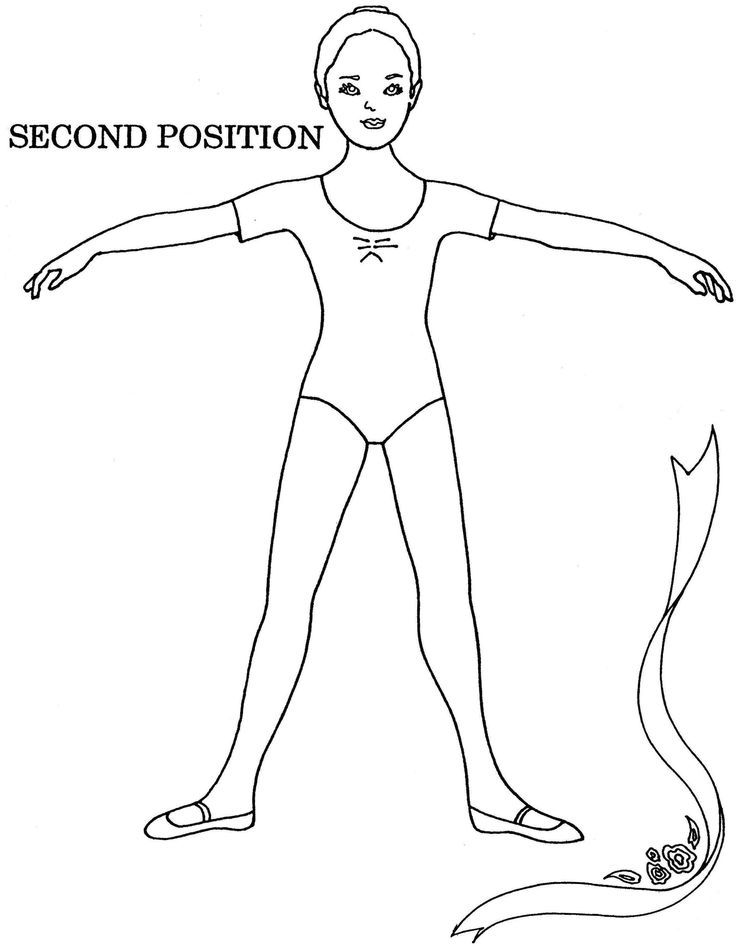 Ballet Second Position Coloring Sheet Ballet Positions Ballet