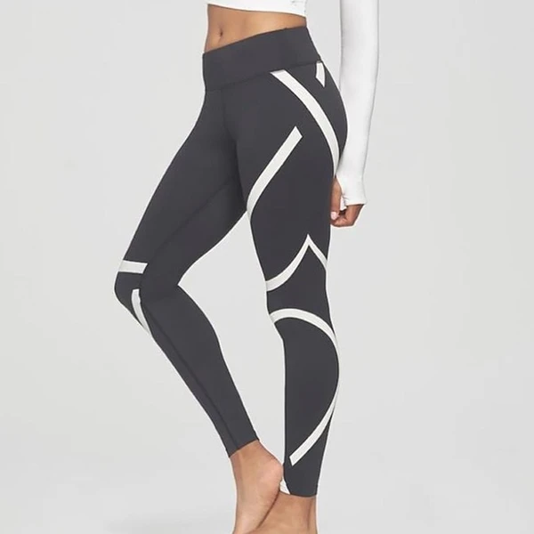 Spandex Push Up Fitness Stripe Leggings Sport Yoga Gym Pants Workout Trousers