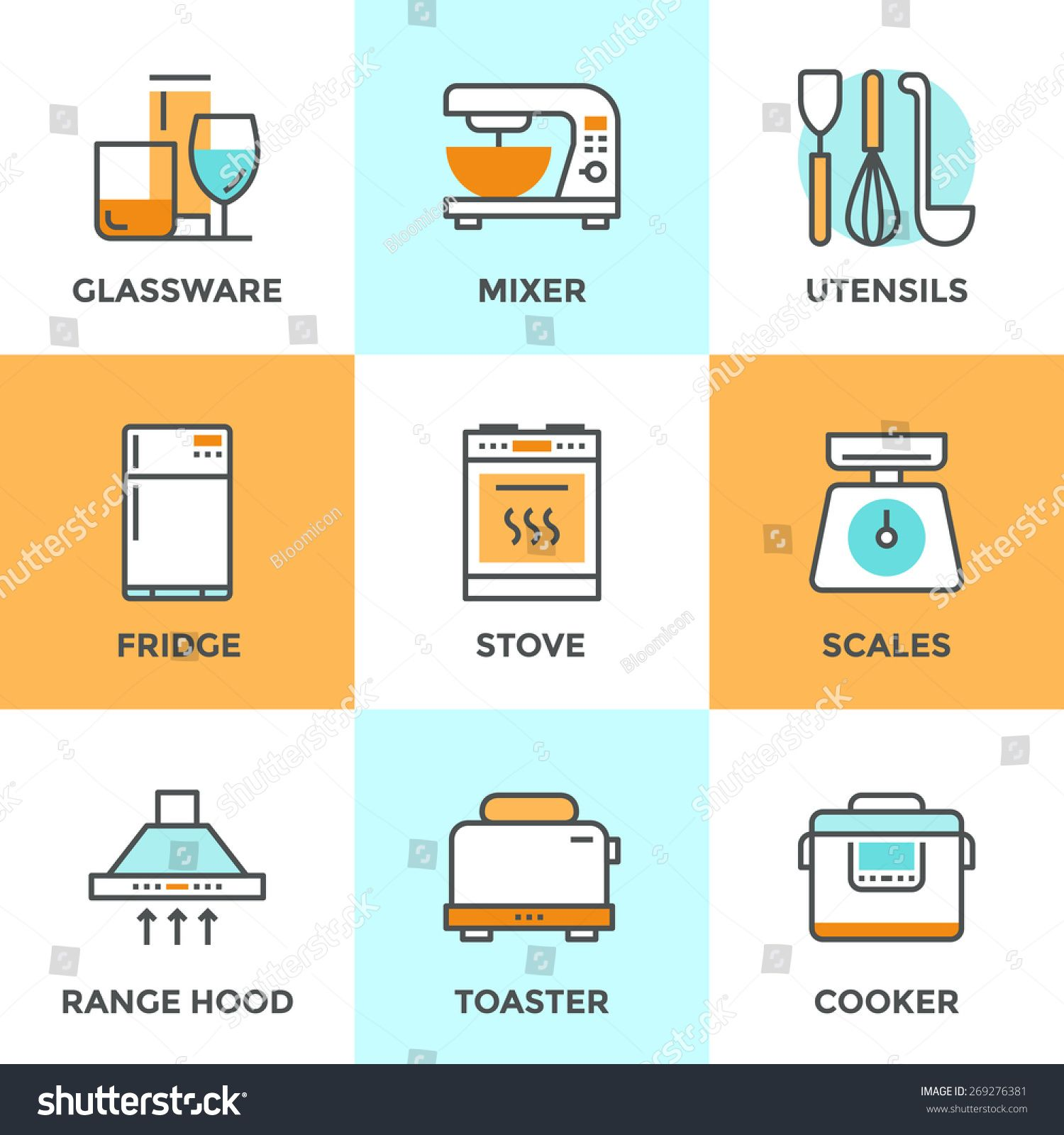 Line icons set with flat design elements of kitchen