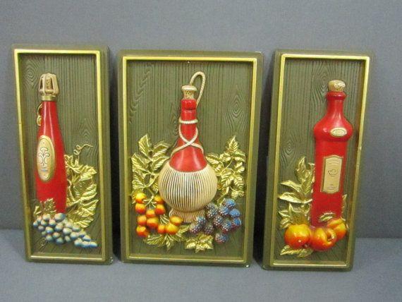 Vintage 1969 3D Miller Studio Inc. Set Of Three Wine/Fruit Wall Plaques Plastic FREE SHIP