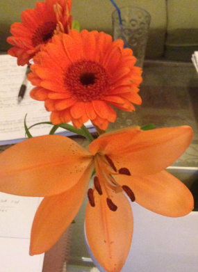 Orange Gerbera and Lilly's mix