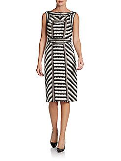 Carolina Herrera Silk Striped Organza Lace Dress