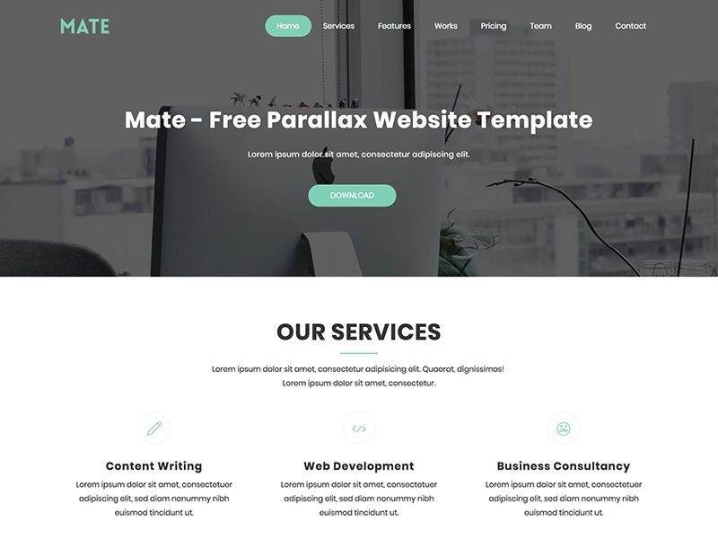 Mate Free Parallax Bootstrap Html Website Template Website Template Parallax Website Template Templates