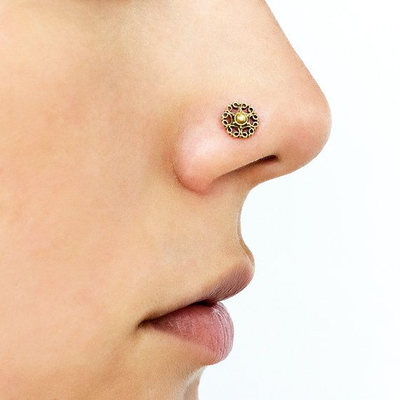 14K or 9K Solid Gold 6mm CZ flower Nose Stud Nose Ring Nose Piercing Jewelry