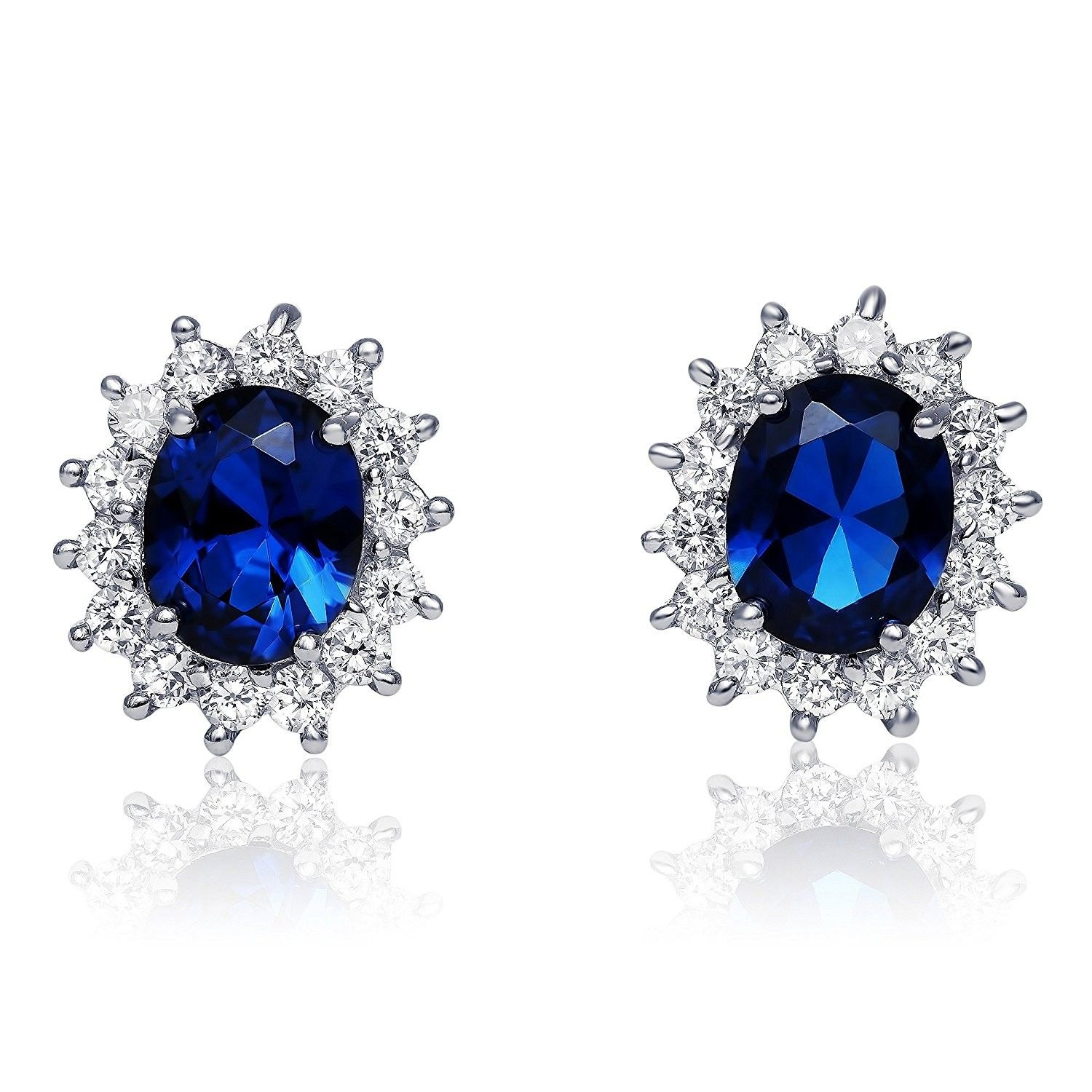 d0f18c137 Sterling Silver Simulated Blue Sapphire with Clear Cubic Zirconia Princess  Stud Earrings- 17mm - CR12JD9DVL5 - Earrings, Stud #earrings #jewelry ...