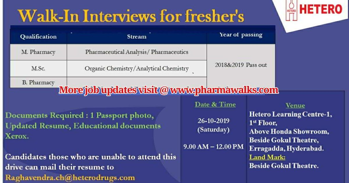Walkin interview for Freshers on 26th October, 2019