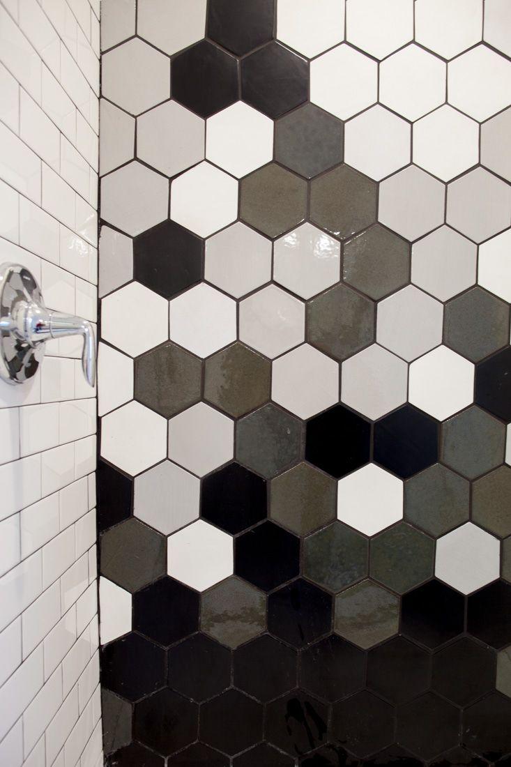 black and white hexagon tile design