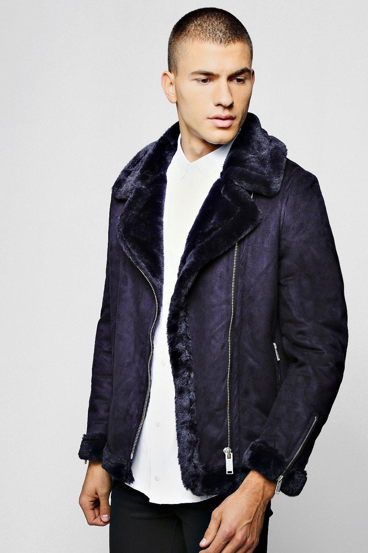 Faux Fur Lined Suede Aviator boohooMAN Men's coats