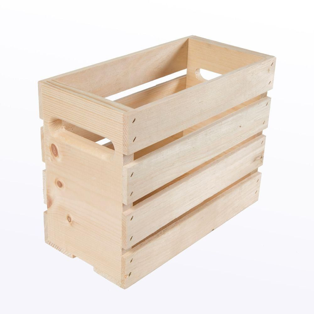 Crates Pallet 12 5 In X 675 In X 9 5 In Growler Small Wood Crate 2 Pack Natural Wood Laundry Room Storage Wood Crates Crates