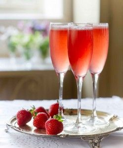 Sweet Eve Strawberry Cocktail: Strawberries + Elderflower Cordial + Campari + Prosecco