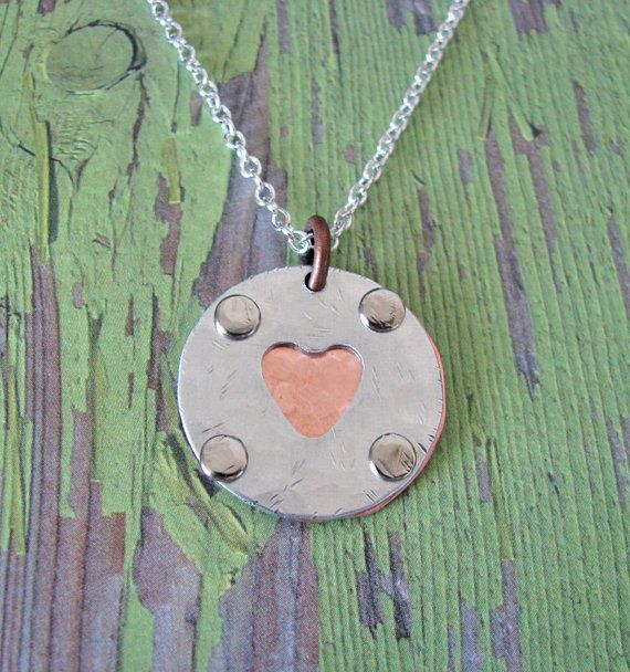 hidden message rustic heart necklace by juliethefish on Etsy, $38.00