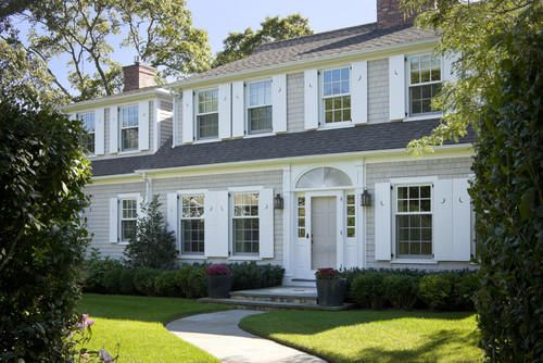 Beige House White Shutters Colonial House Exteriors House