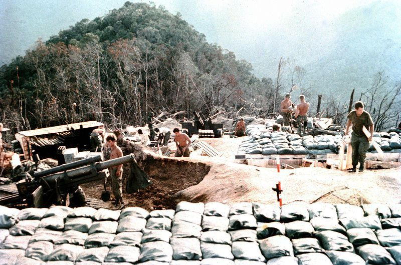 Howitzer at a mountaintop support base, 1968 Vietnam