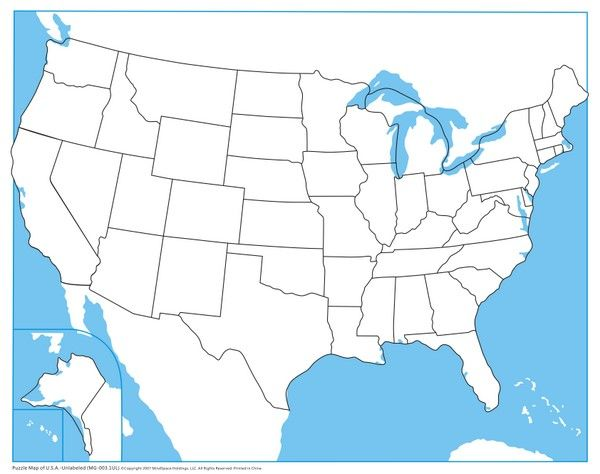 USA Control Map - Unlabeled from Montessori Outlet | Kids ...