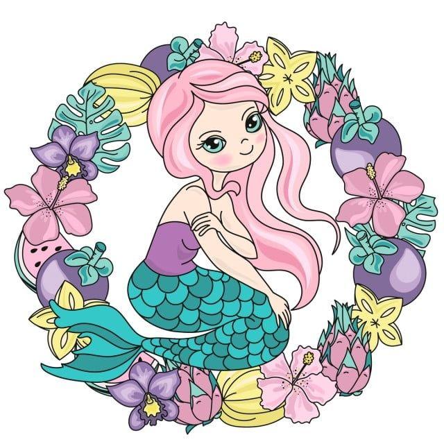 Photo of mermaid, wreath, travel, tropic, flower, fruit ,, underwater, tropical, vacation, ocean, su …
