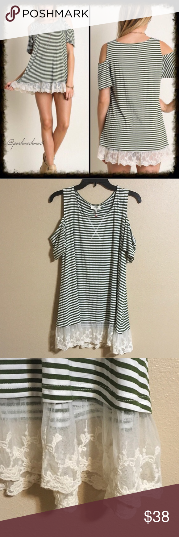 Olive/Cream Cold Shoulder Top w/Lace Olive/Cream Cold Shoulder Top w/Lace. This gorgeous striped cold shoulder top will become one of your favorites! Awesome for Coachella! Super comfortable material has some stretch to it. 65% cotton 35% polyester. 💋 Tops