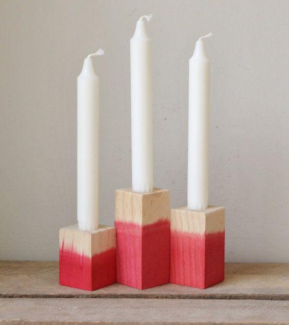 Ensemble de trois Scarlett plongé titulaire de chandelier en bois
