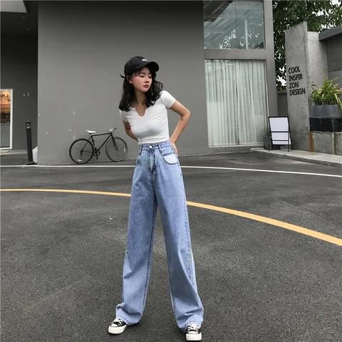 Vintage Wide Leg Jeans Mom High Waisted Jeans In 2020 Wide Leg Jeans Outfit Korean Streetwear Wide Leg Denim