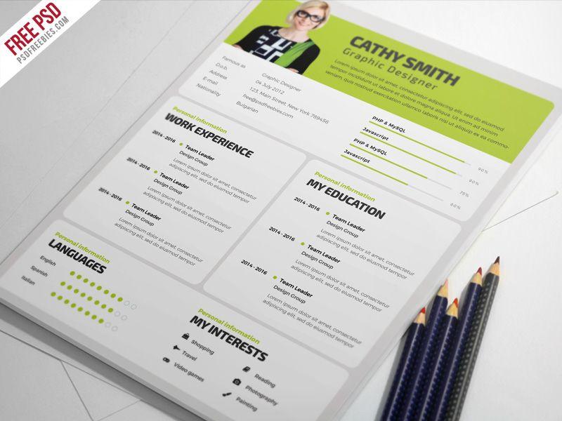 Designer resume template free psd resume template free