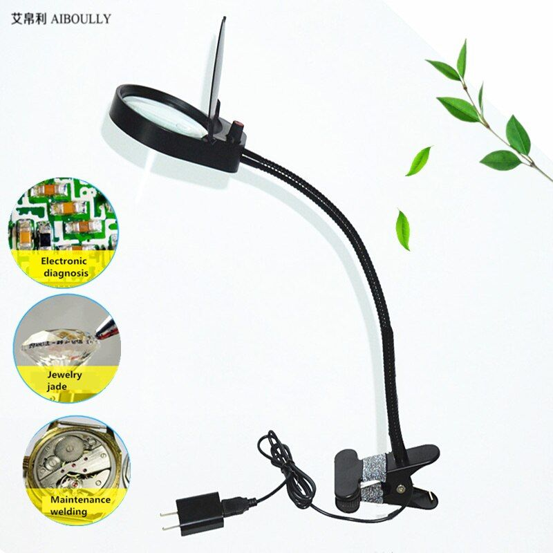 AIBOULLY PD5S Clamping Magnifier 10X Times With LED
